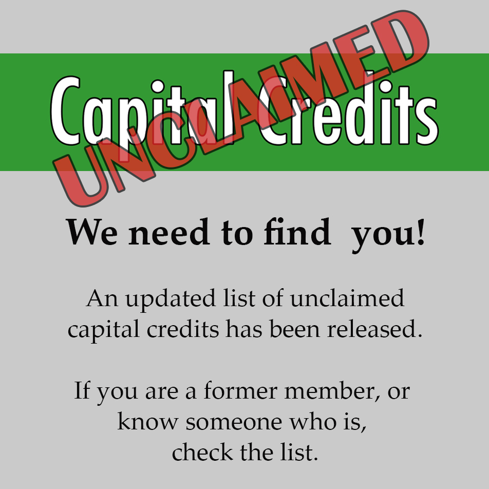 promo for unclaimed capital credit list