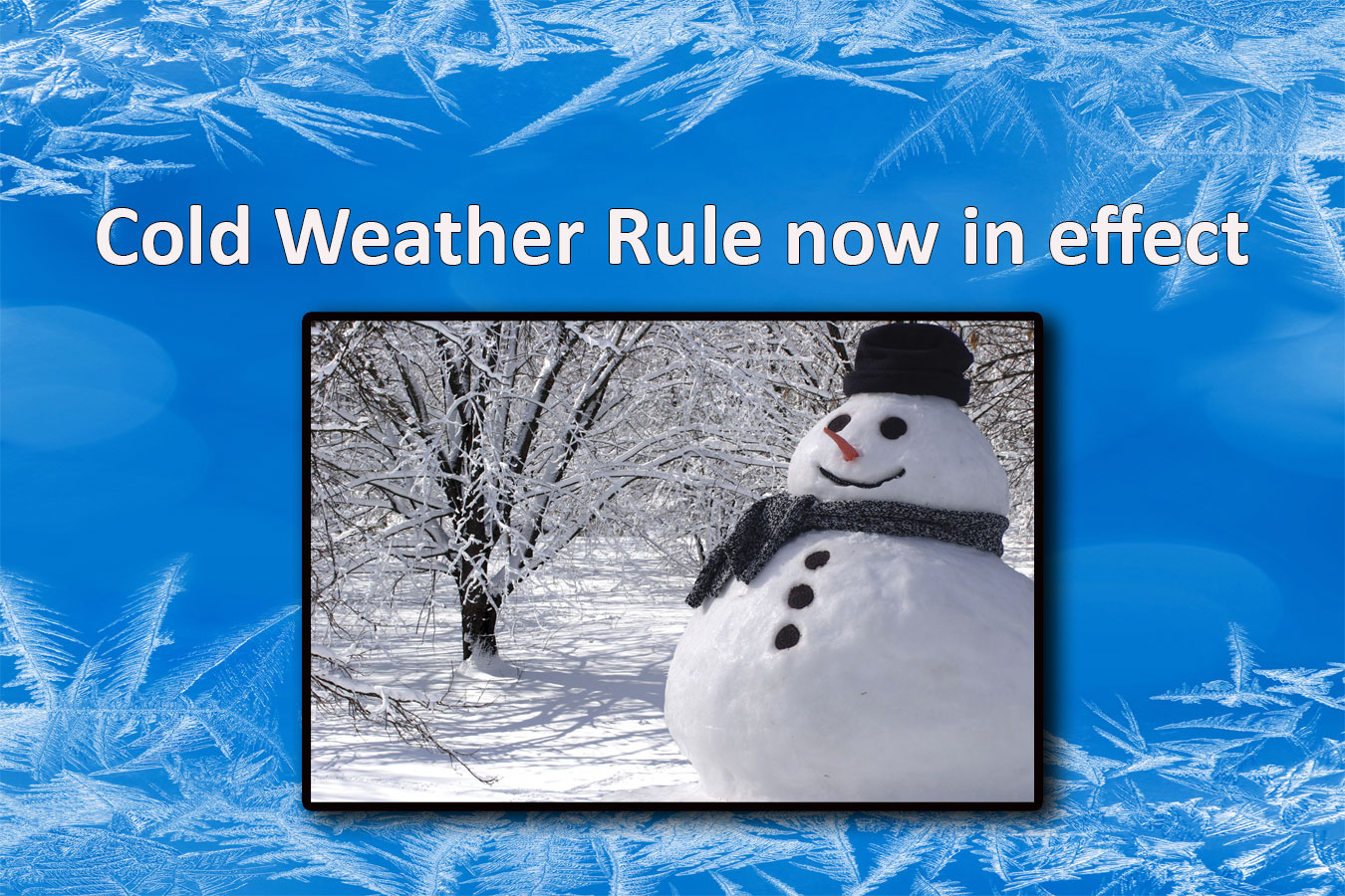 Cold weather rule graphic with snowman