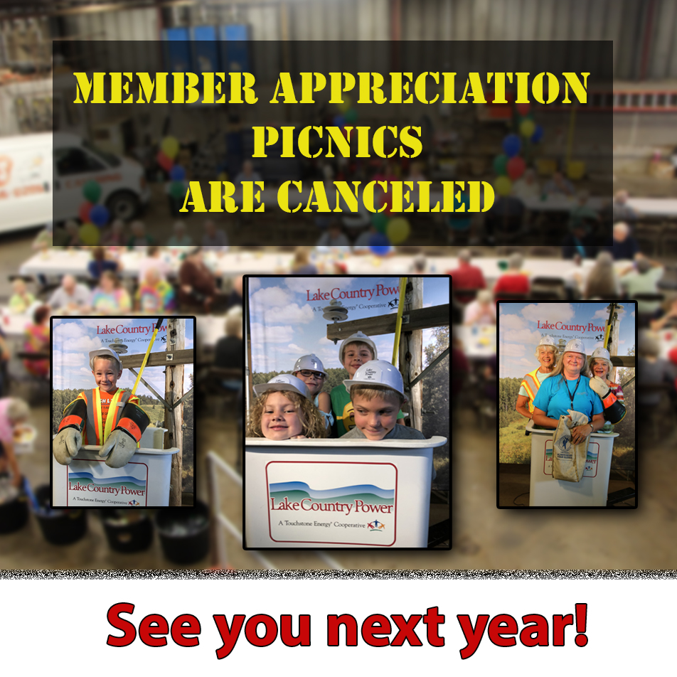 graphic announcing cancellation of 2020 member picnics